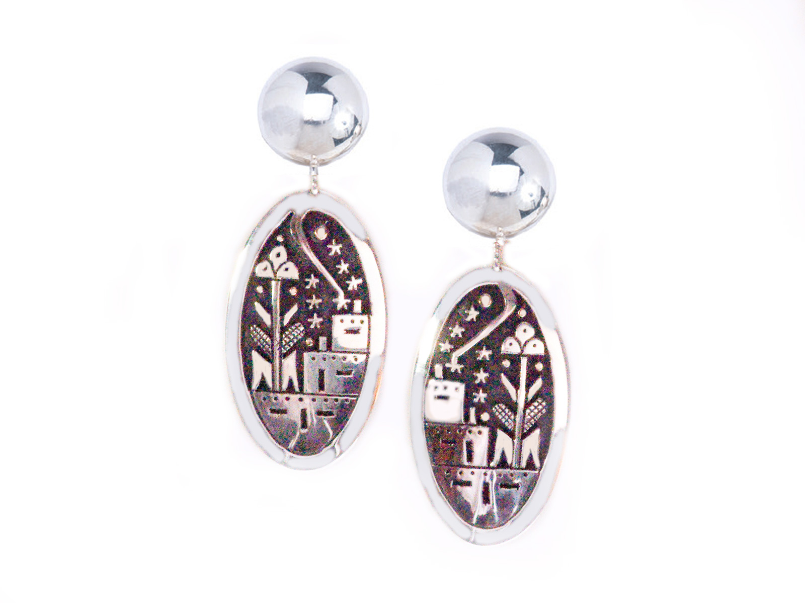 Silver Shooting Star Pueblo Scene Earrings