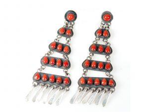 Navajo Coral & Sterling Silver Earrings