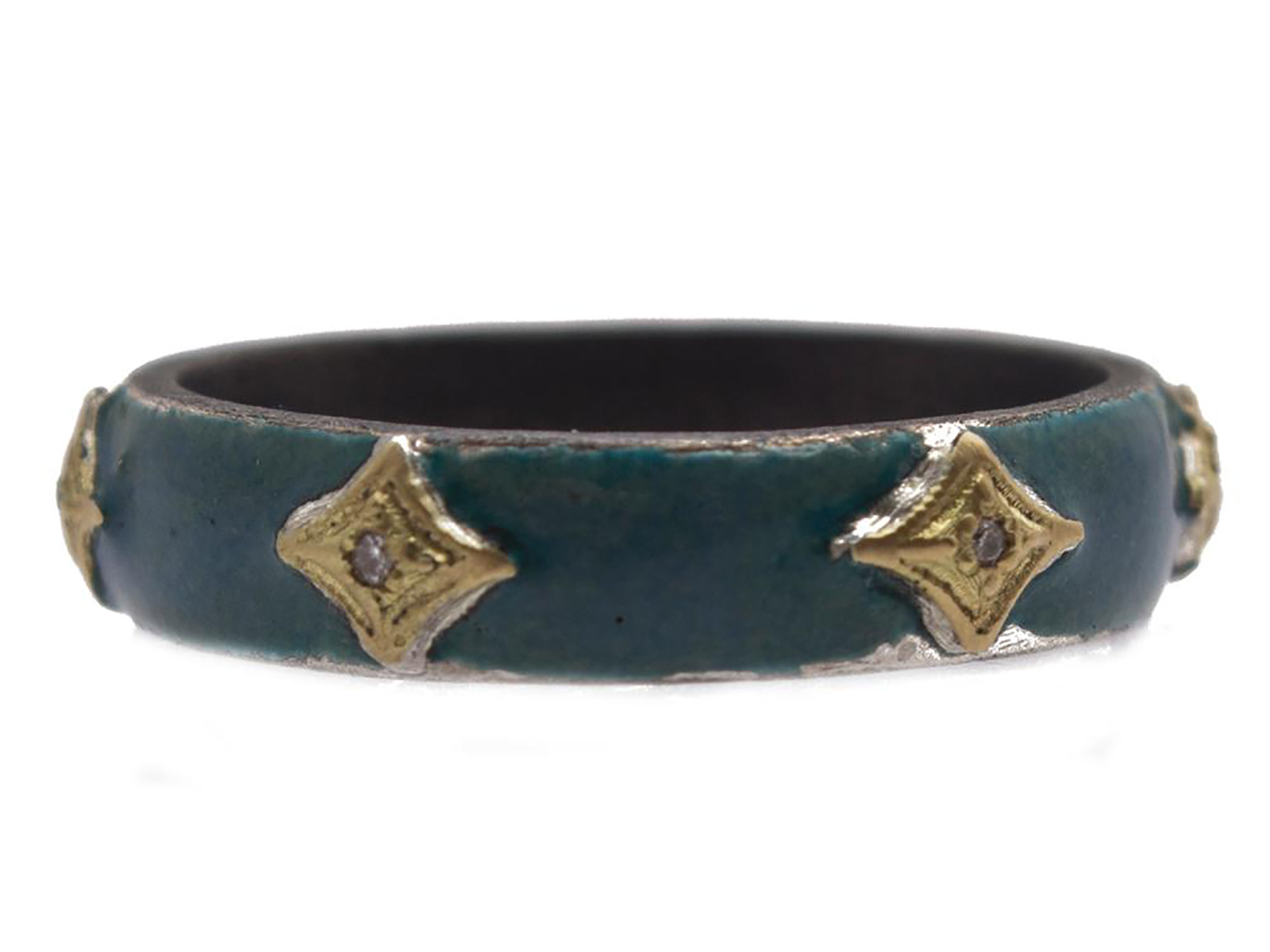 Teal Enamel Ring