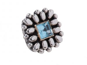 Dian Malouf Blue Topaz Ring
