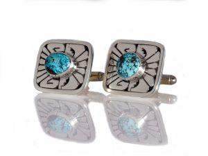 Rectangular Turquoise Cufflinks