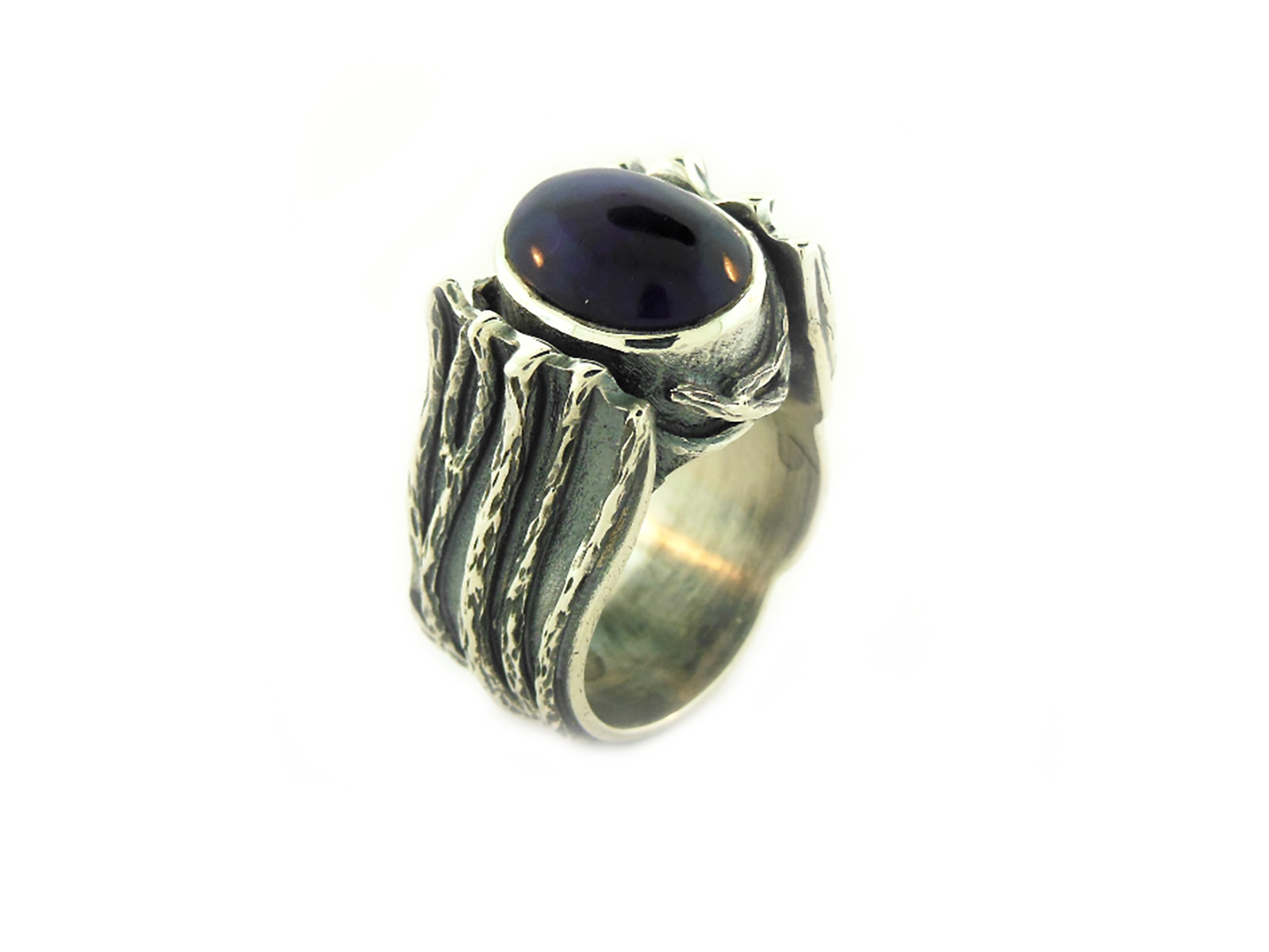 Natural Sugilite Silver Ring