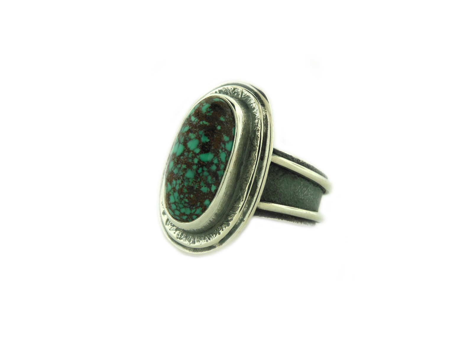 Natural Red Mountain Turquoise Silver Ring