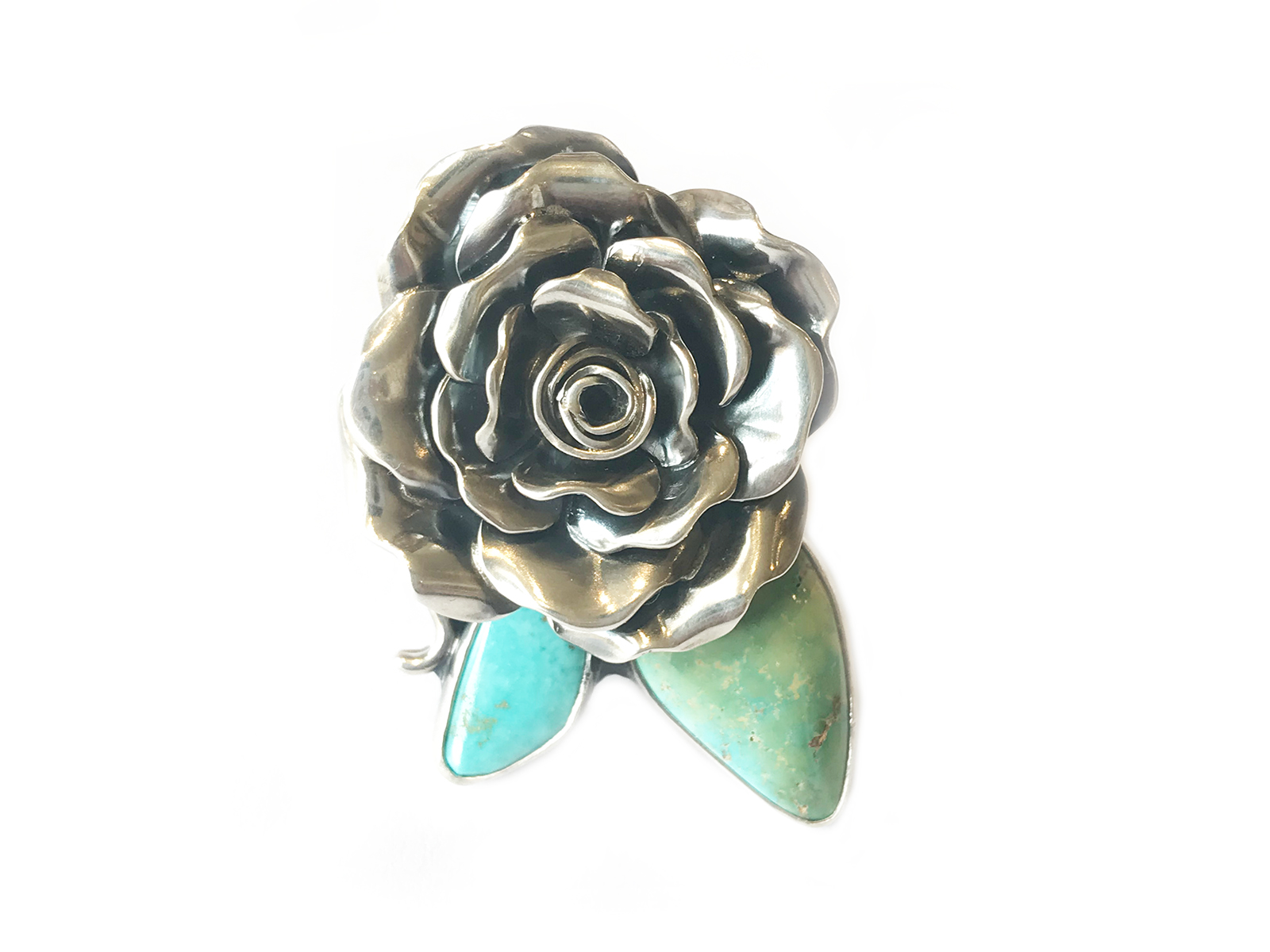 Silver Kingman Rose Ring