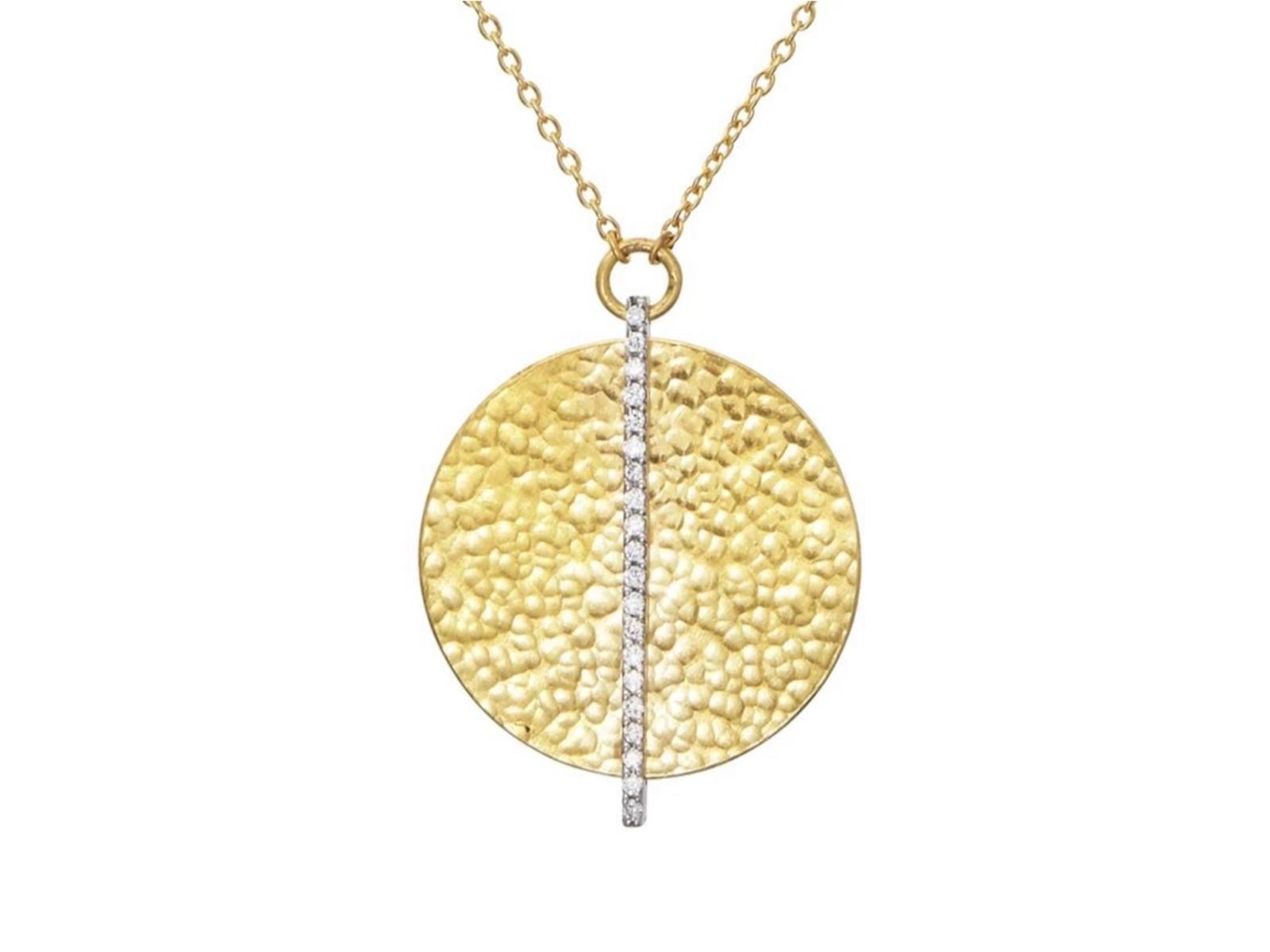 Round Diamond Stripe Necklace