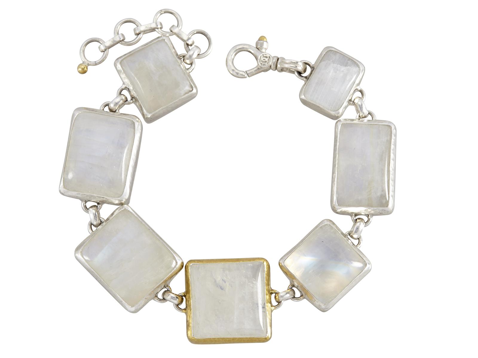 Gold Silver Moonstone Bracelet