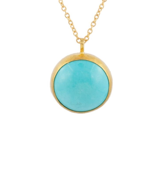 Amulet Round Gold Turquoise Necklace