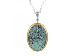 Large Oval Chinese Turquoise Pendant