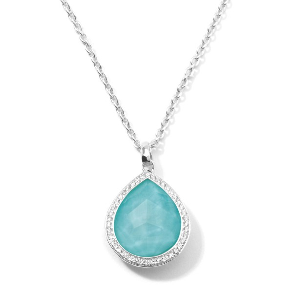 Lollipop® Sterling Silver Teardrop Pendant Necklace with Diamonds