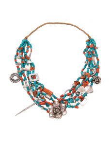 Turquoise Coral Silver Necklace