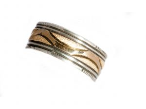 Silver Band with Gold Waves
