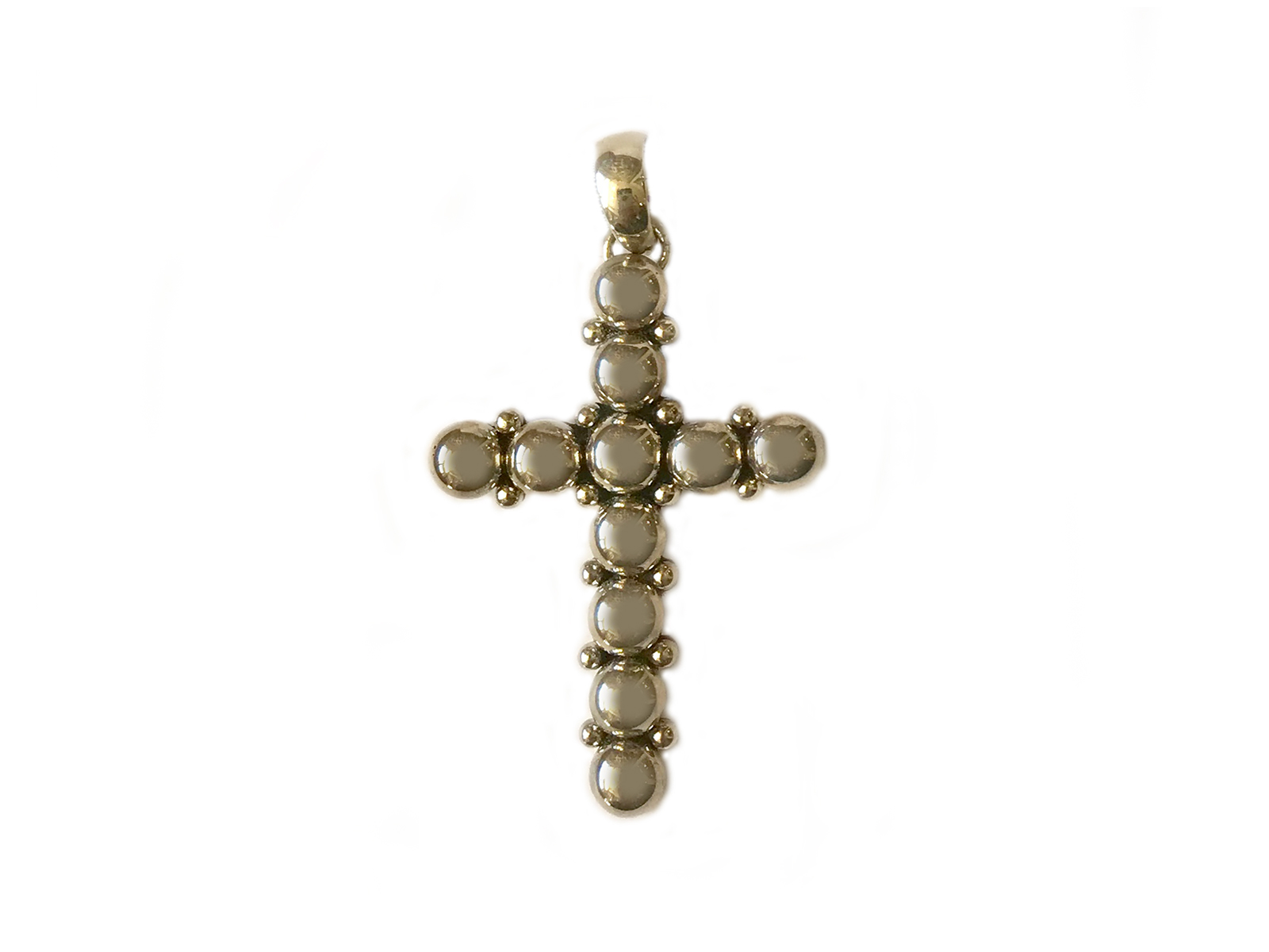 Silver Bead Cross Pendant