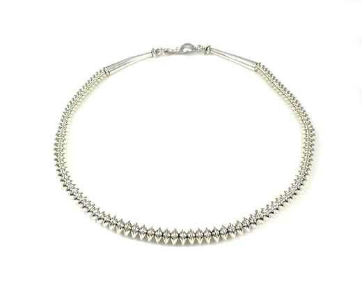 Silver Saucer Bead Necklace