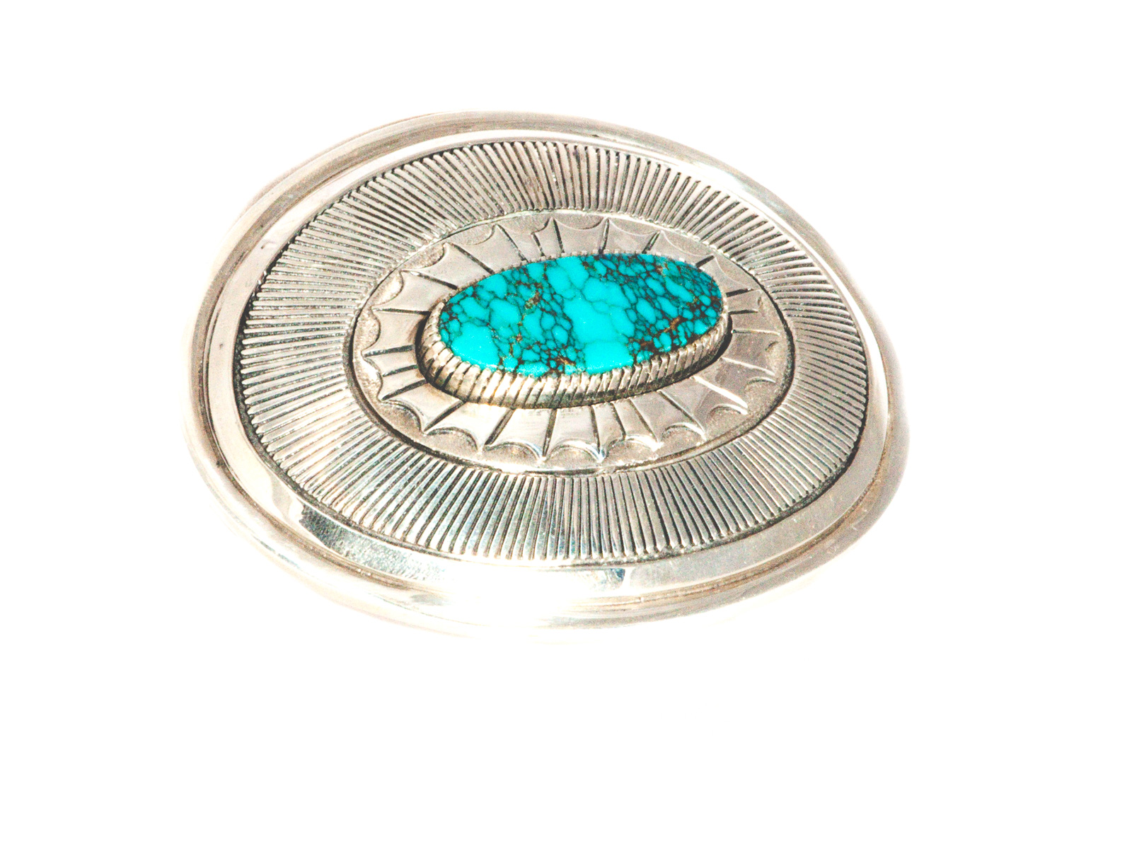 Spider Web Turquoise Belt Buckle