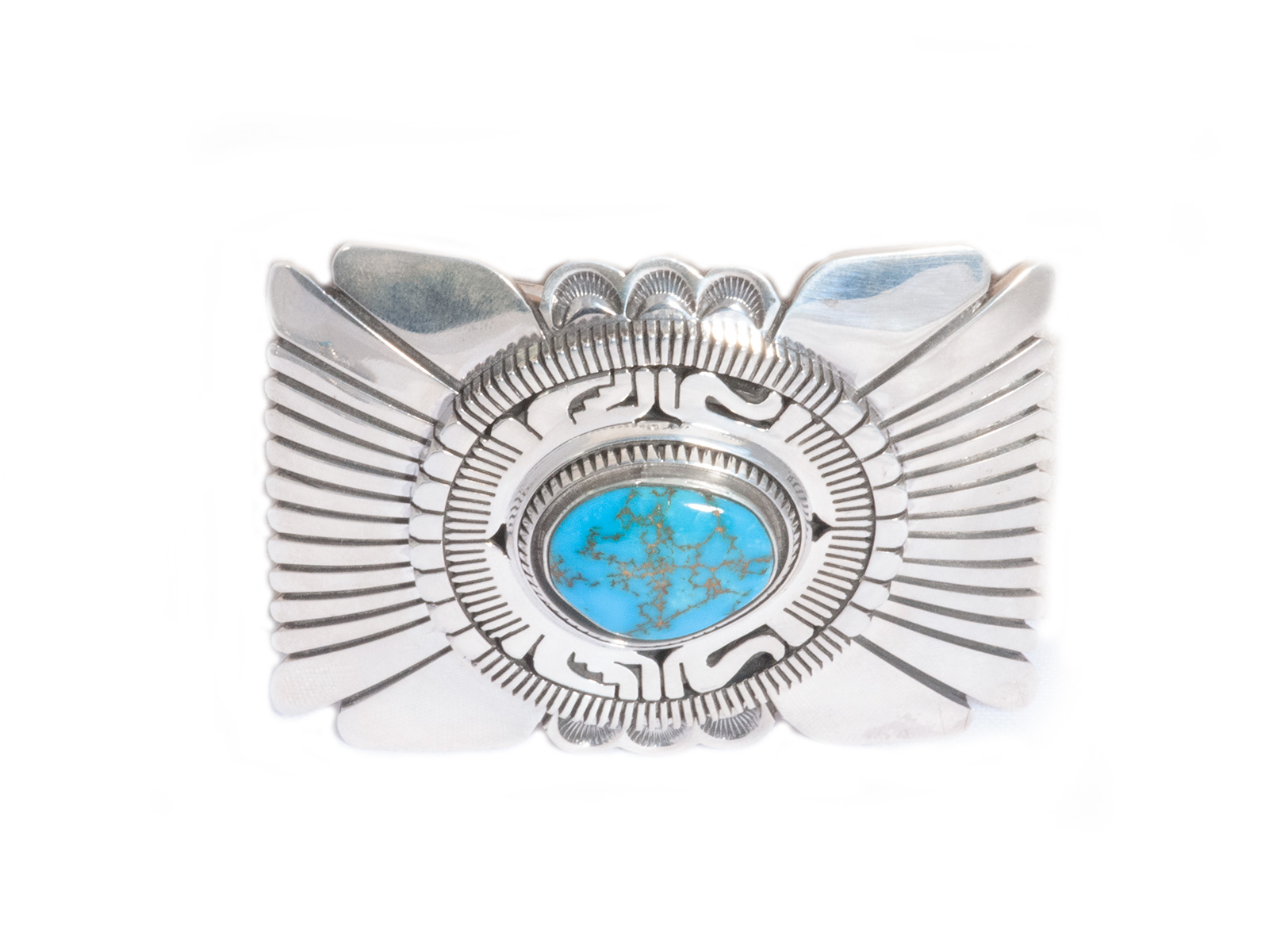 Silver Bisbee Turquoise Buckle