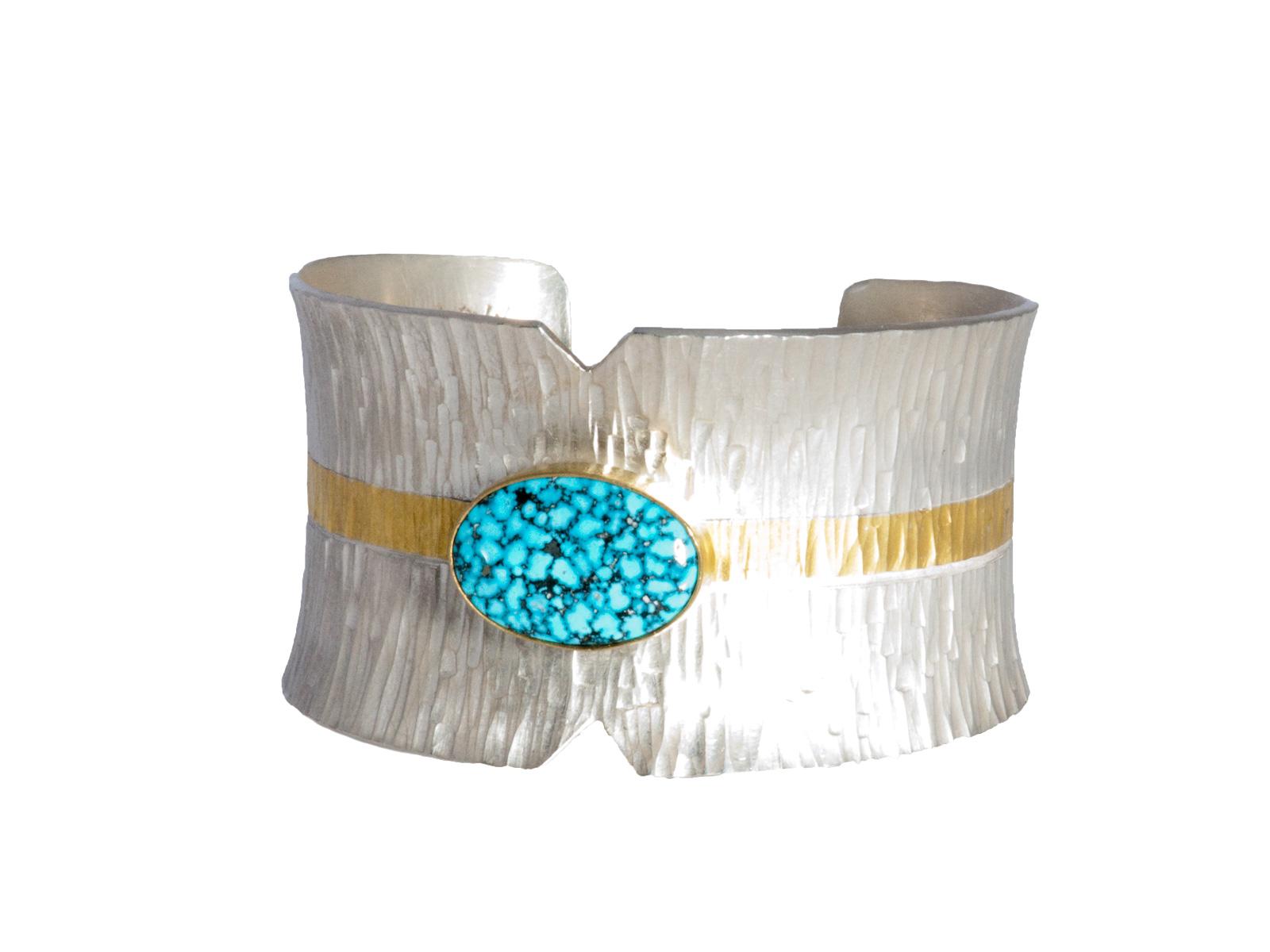 Silver Gold Kingman Spiderweb Turquoise Cuff