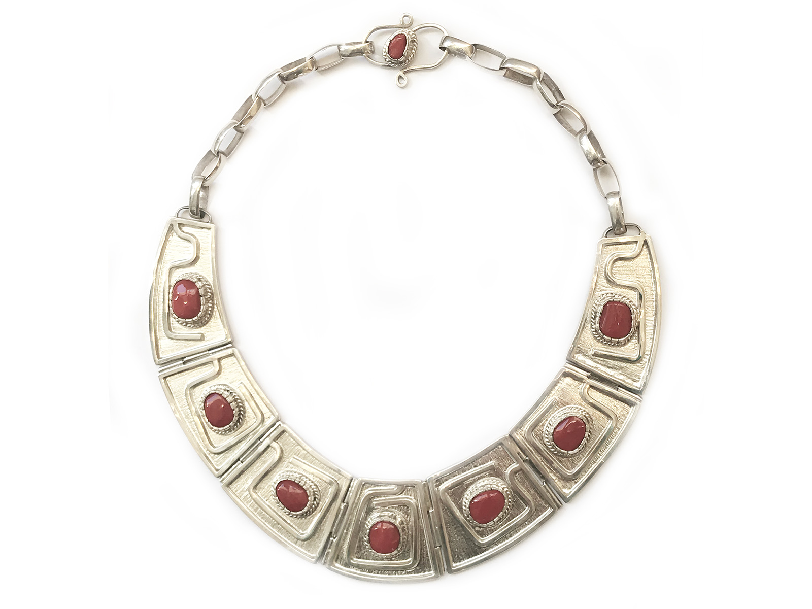 7 Stone Coral Collar Necklace