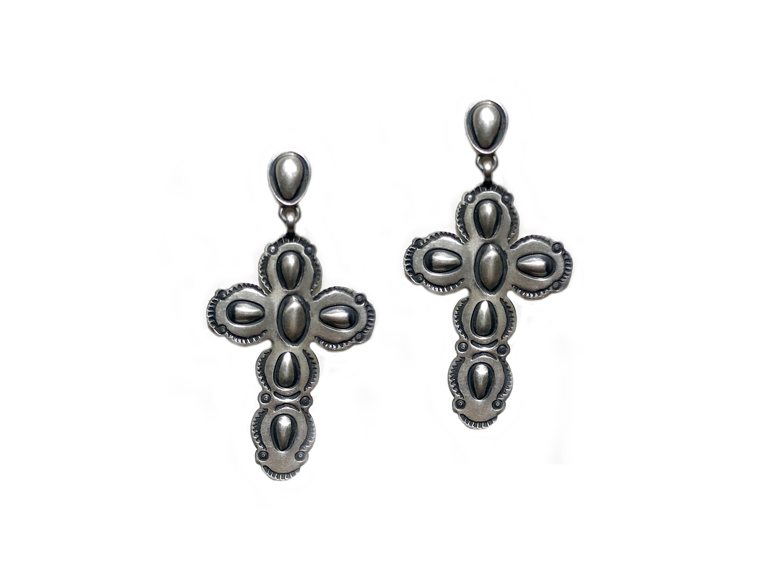 Silver Stamped Cross Dangle Earrings
