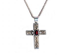 Gold Silver Garnet Cross Pendant