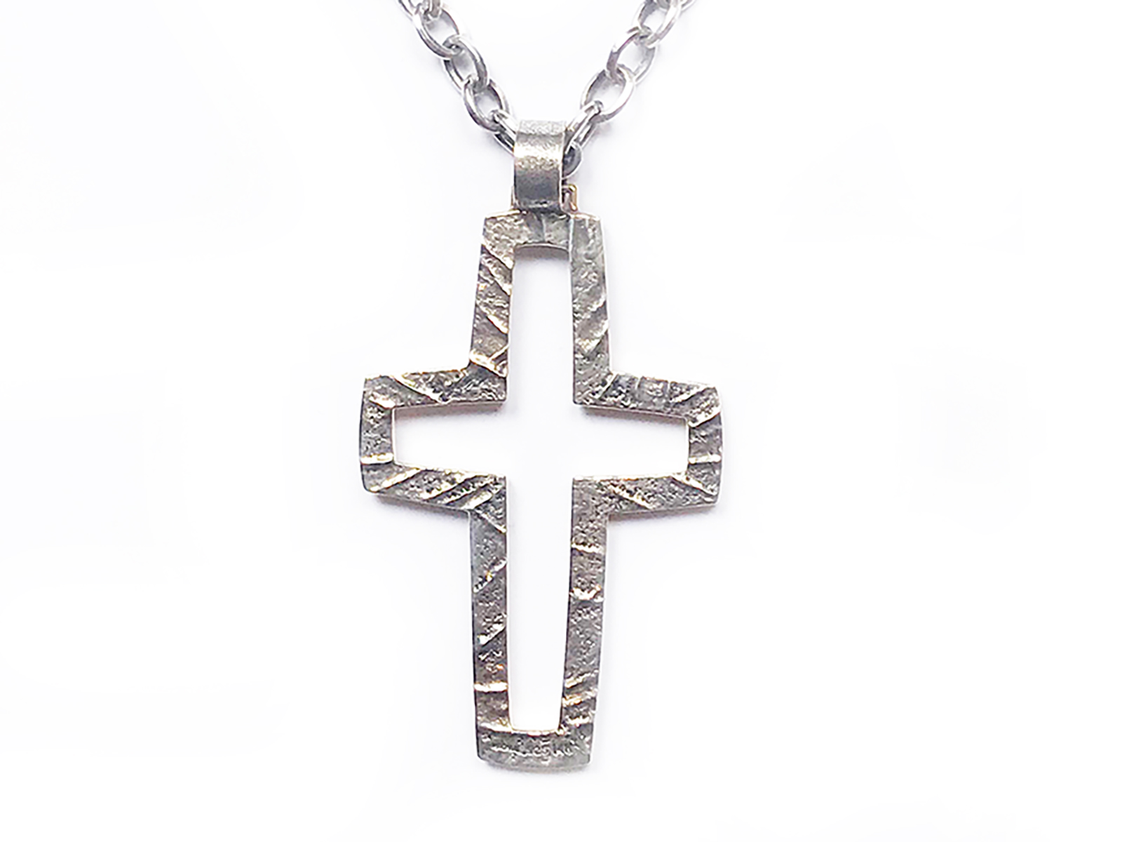Large Silver Gold Cross Pendant