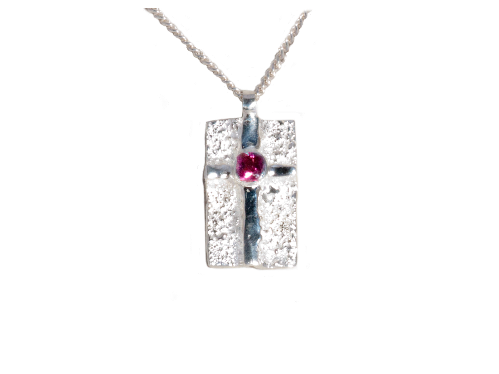 Sterling Silver Pink Tourmaline Cross Necklace