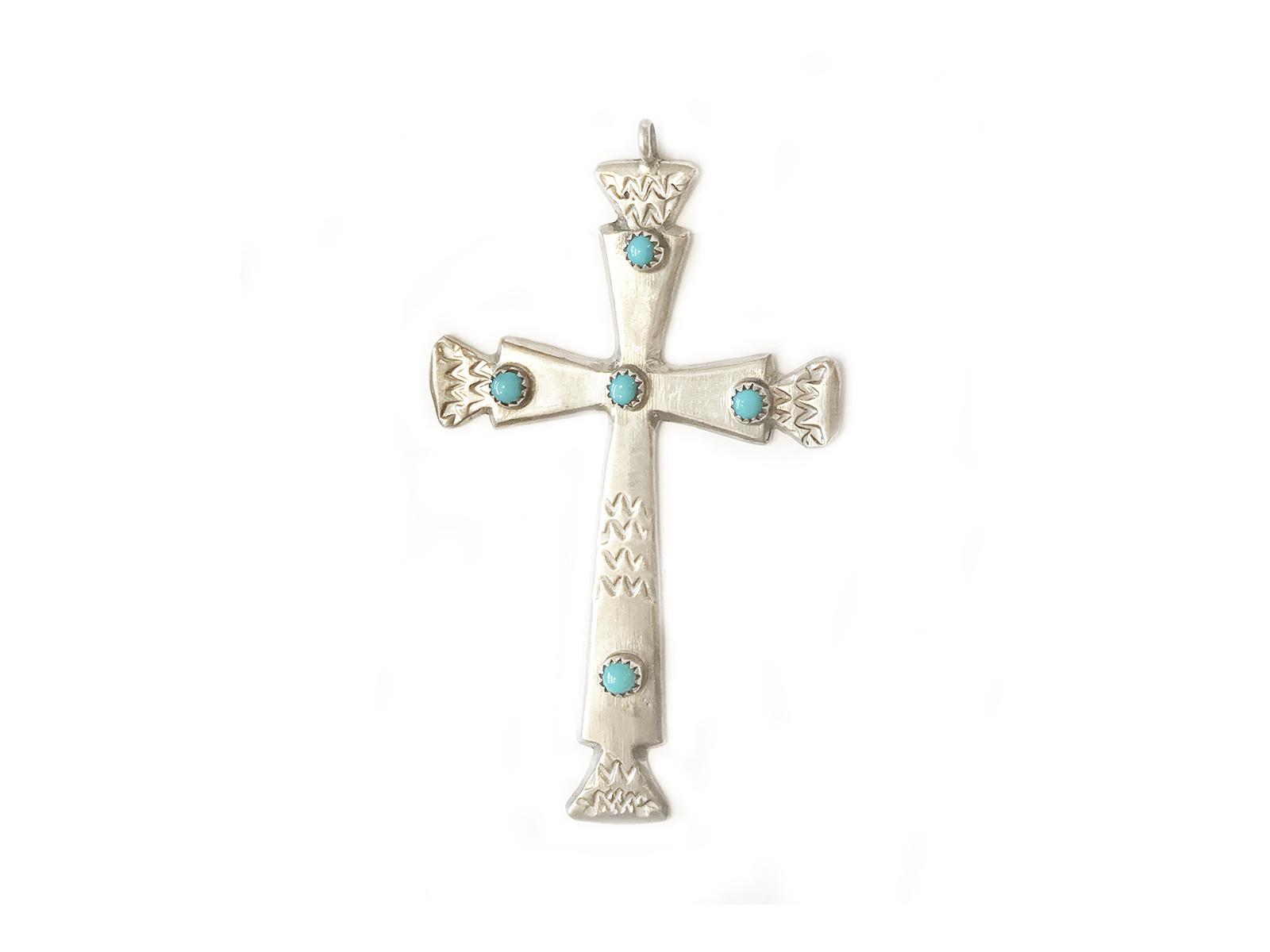 Large Silver Sleeping Beauty Turquoise Cross