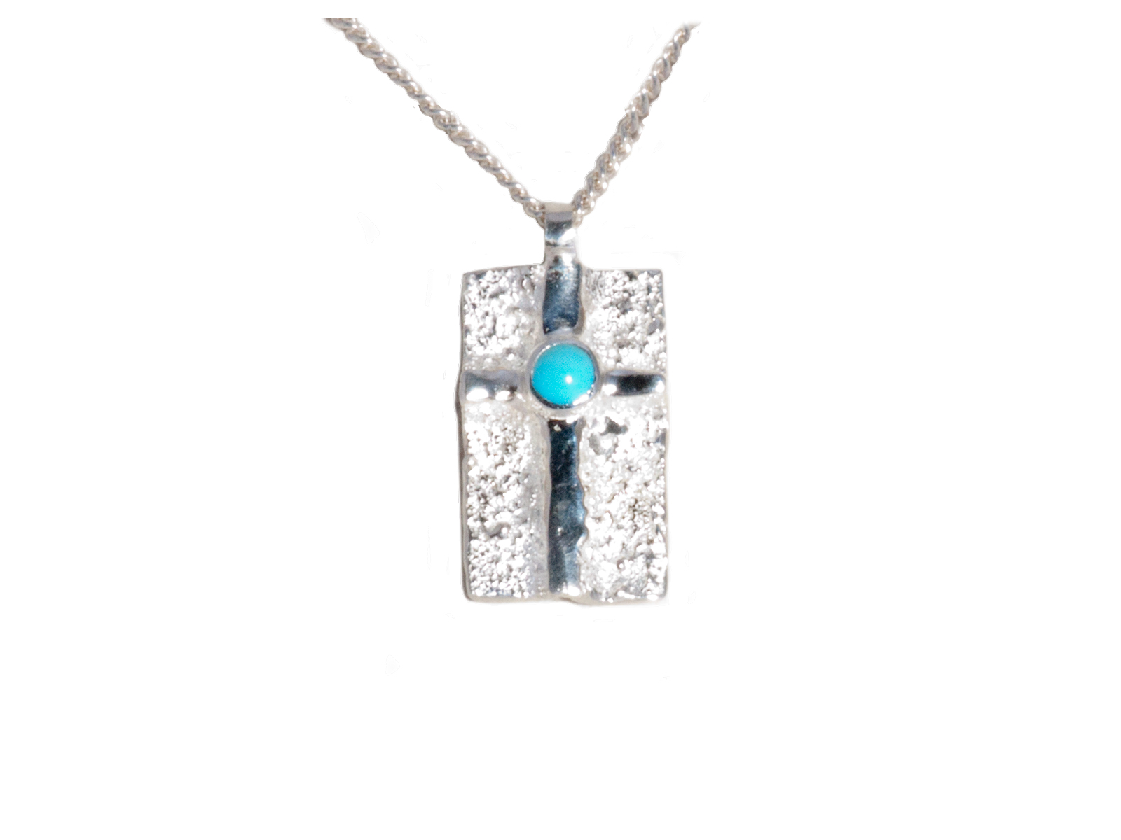 Sterling Silver Sleeping Beauty Turquoise Cross Necklace