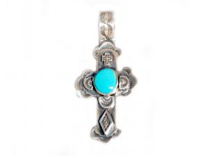 Silver Cross with Turquoise Stone