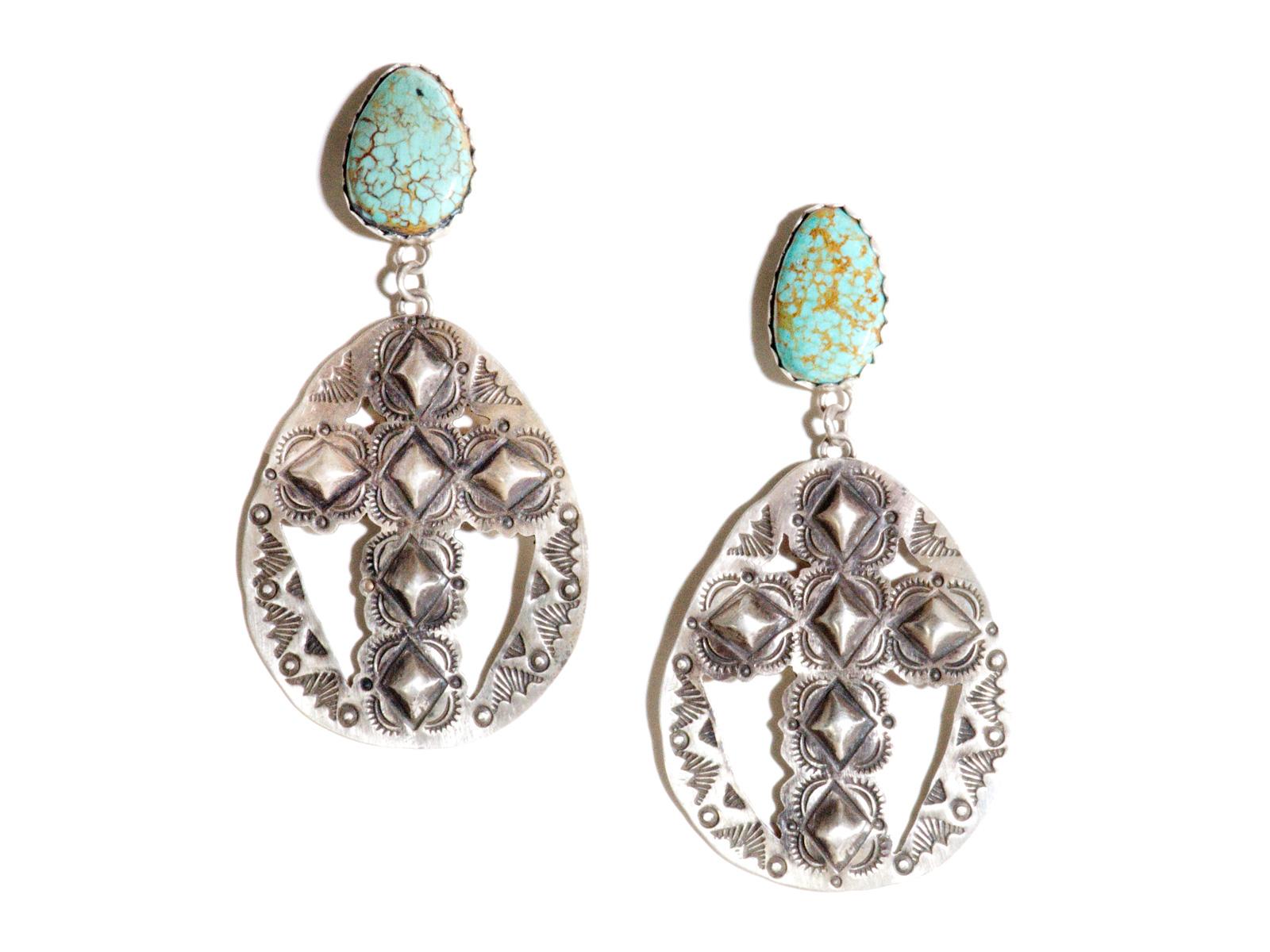 Morenci Turquoise Cross Dangle Earrings