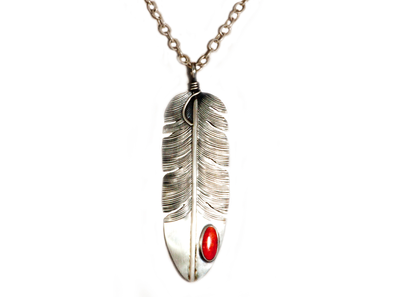 Silver Feather Coral Pendant