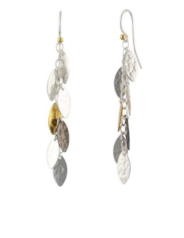 Silver Gold Fringe Willow Earrings
