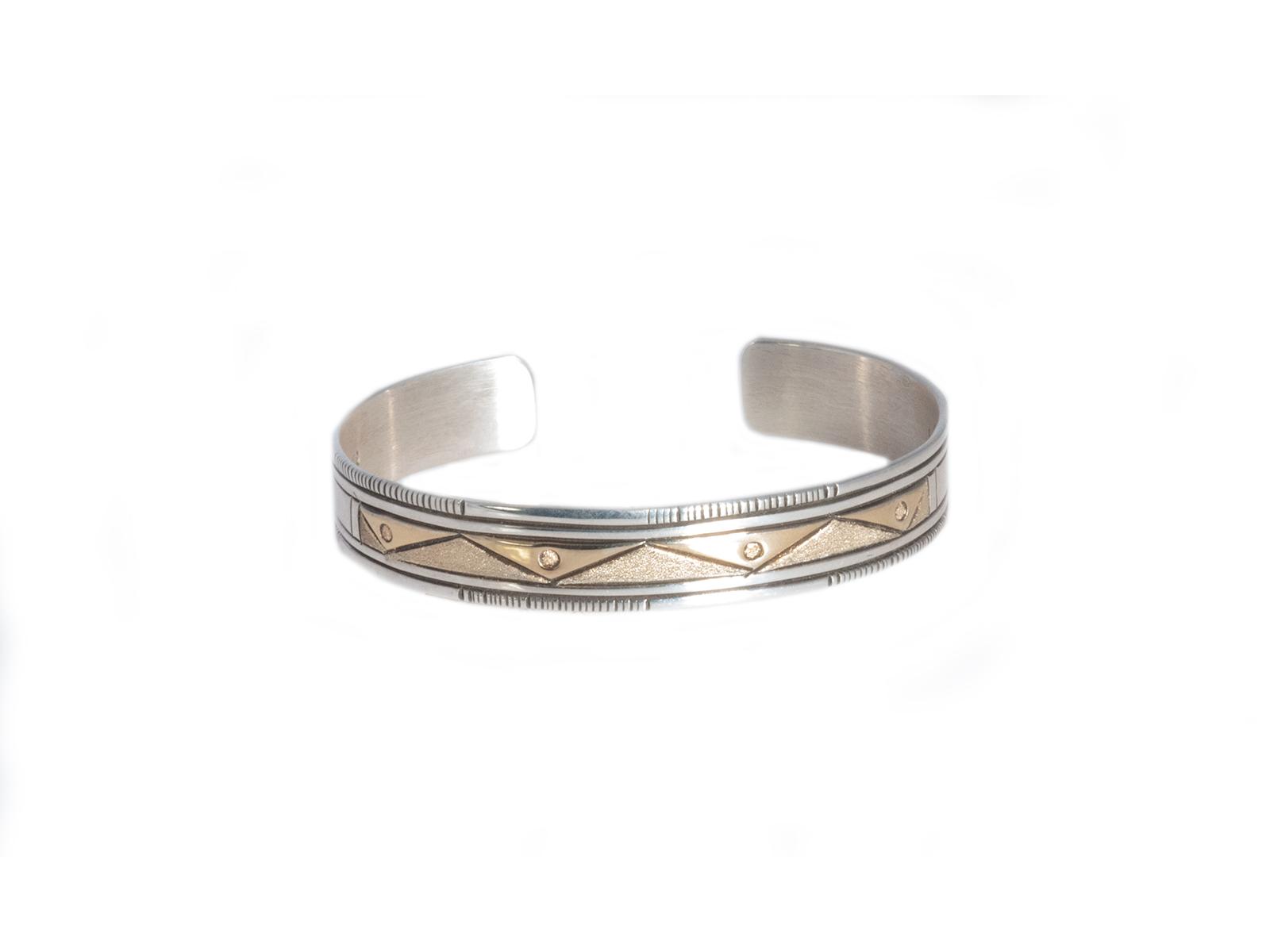Navajo Silver Gold Cuff Bracelet
