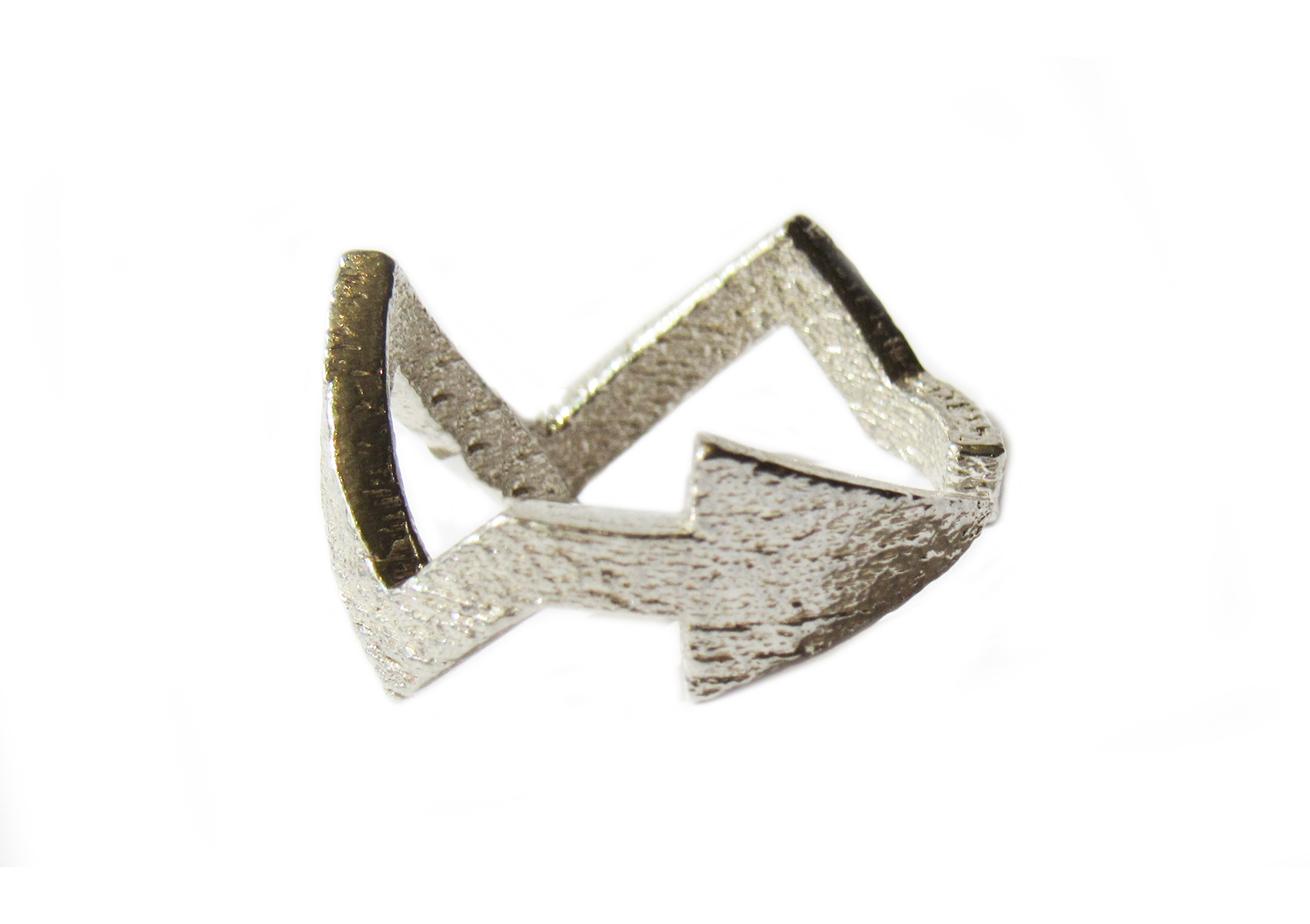 Silver Lightning Arrow Ring
