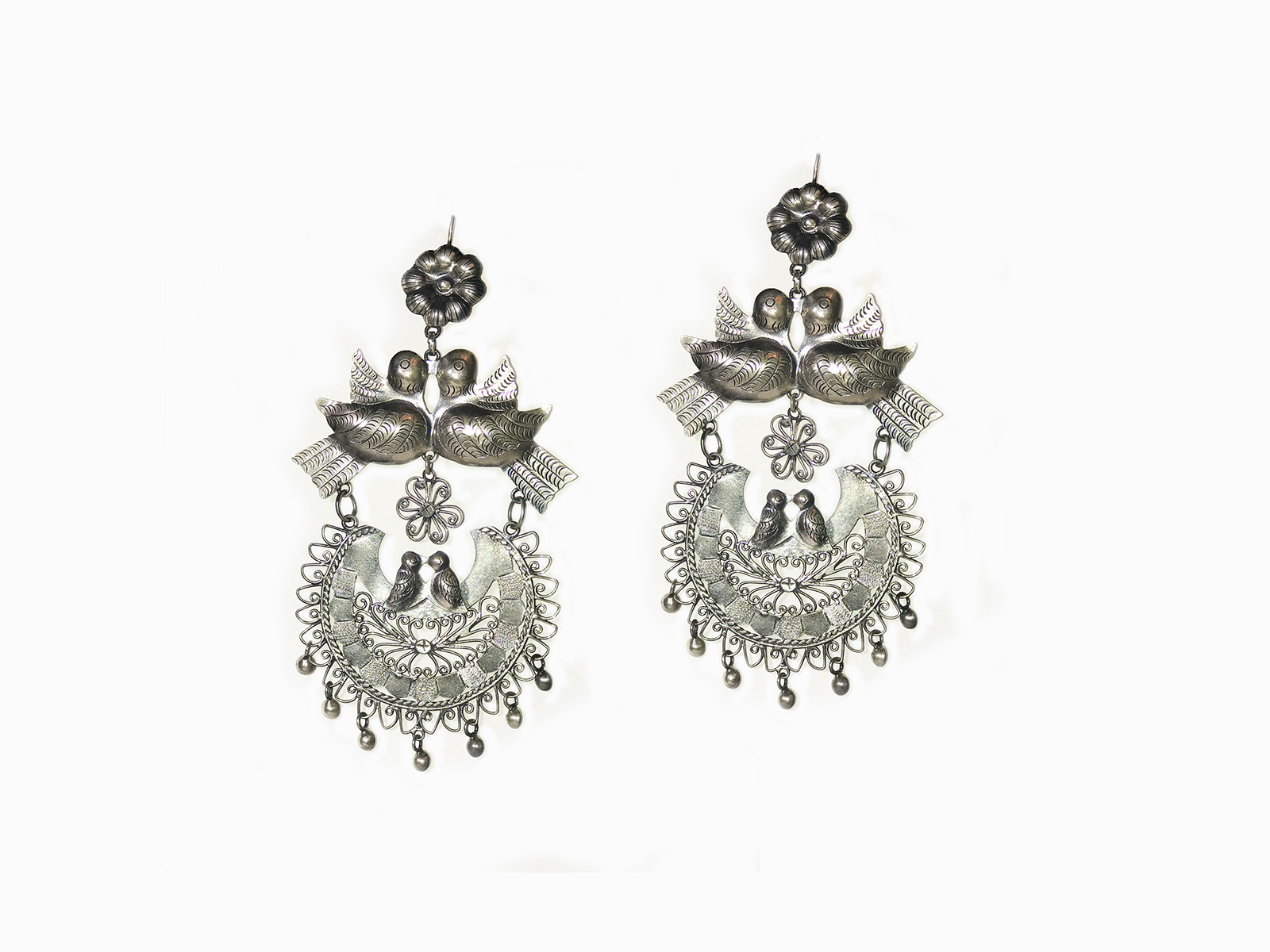 Two Love Birds Filigree Earrings