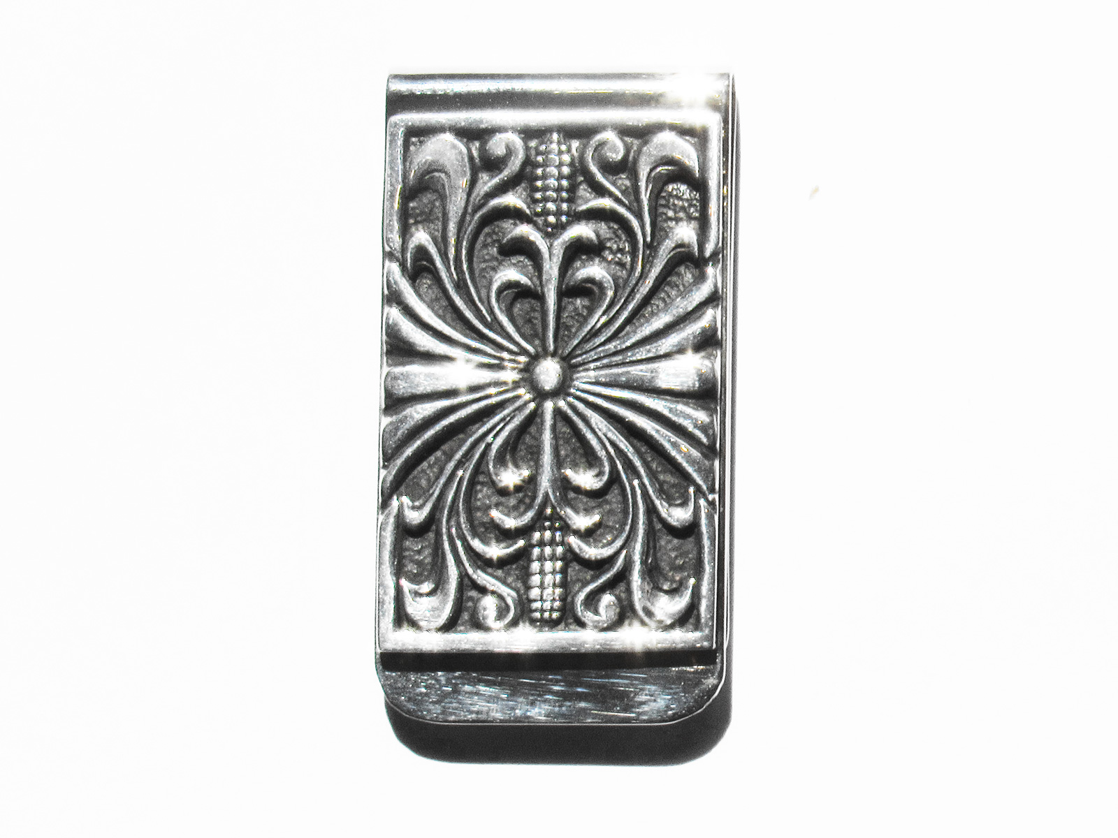 Etched Silver Money Clip