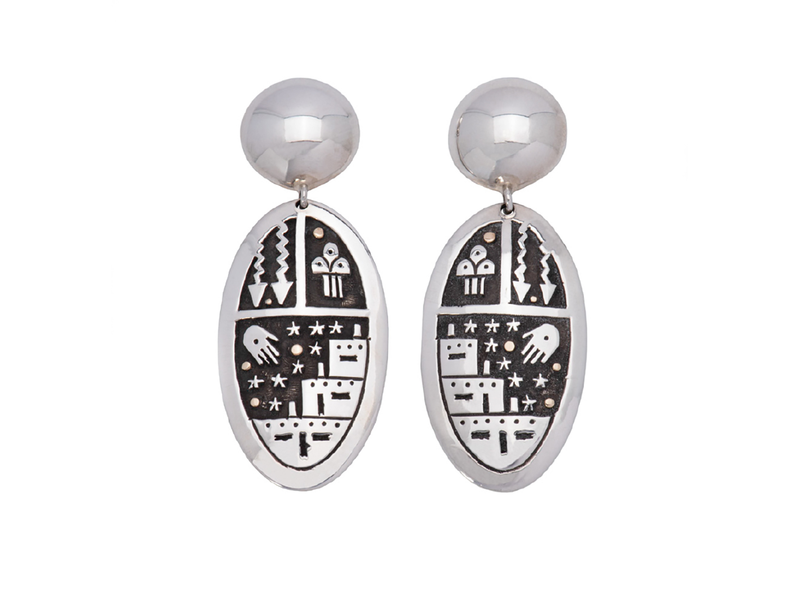 Silver Petroglyph Earrings
