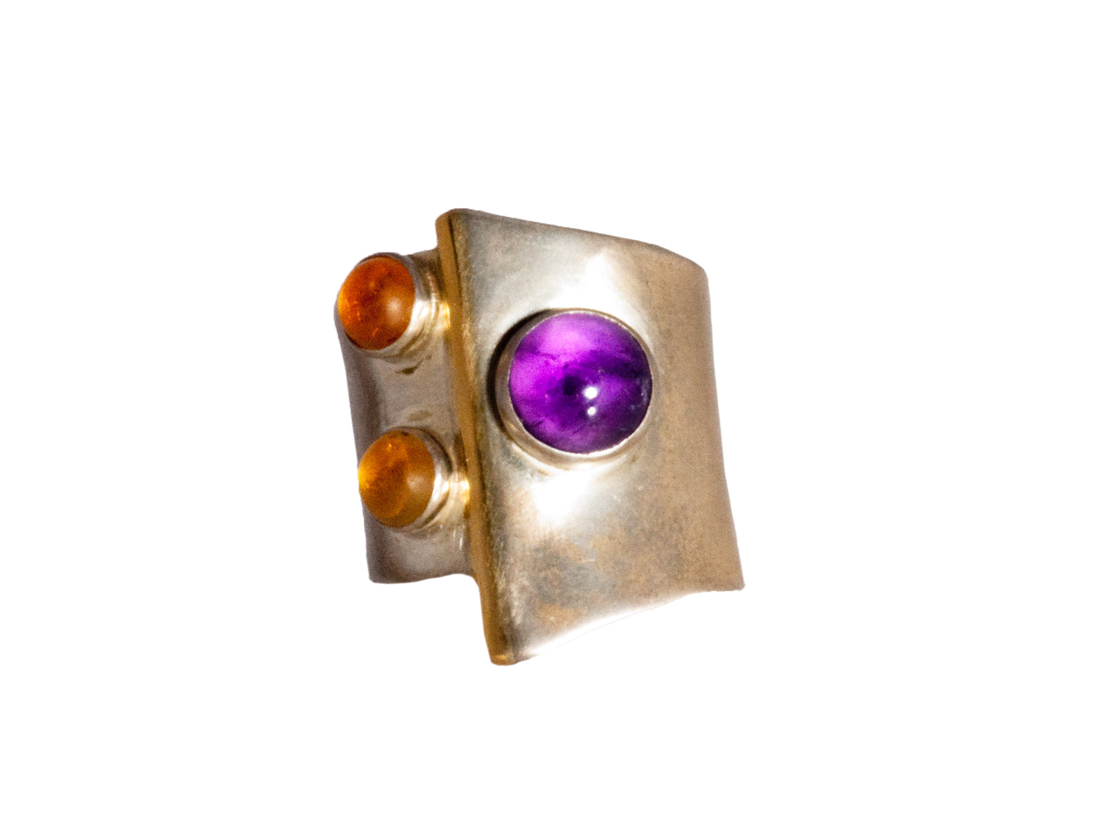 Amethyst Citrine Gold Silver Ring