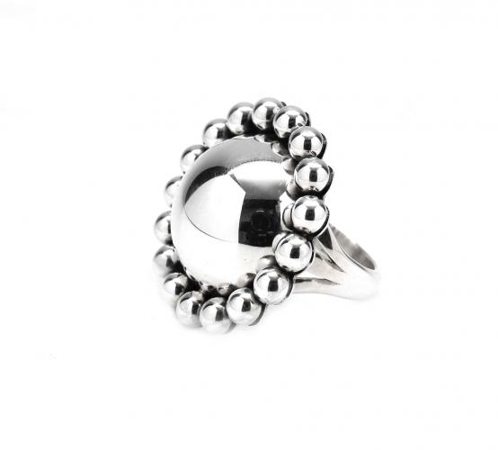 Silver Bead Dome Ring