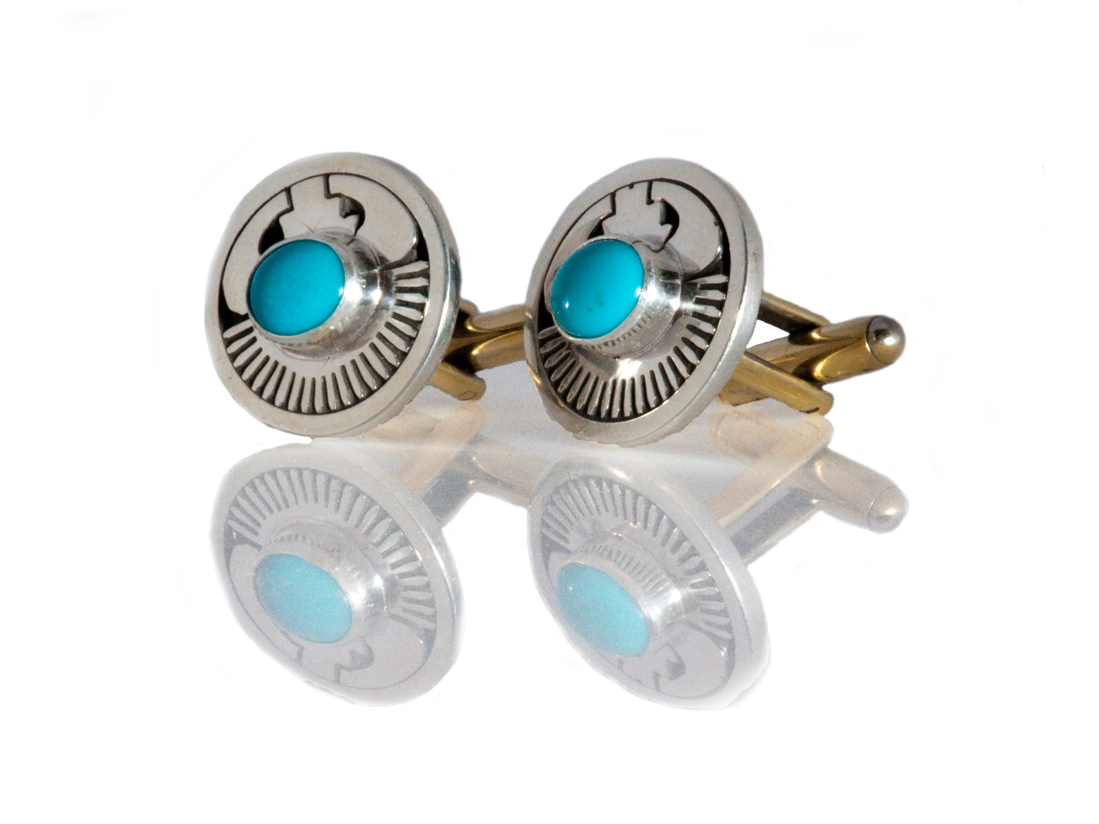 Silver Overlay Kingman Turquoise Cufflinks