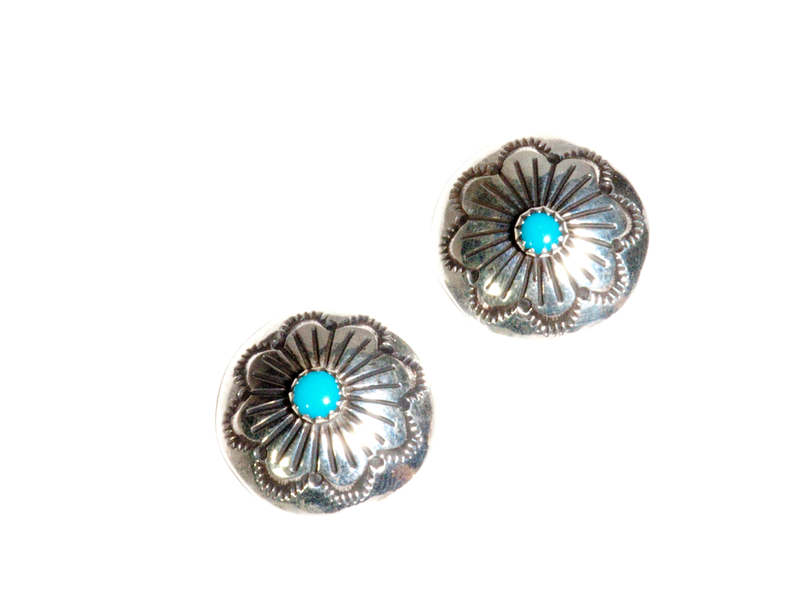 Silver Stamped Turquoise Earrings