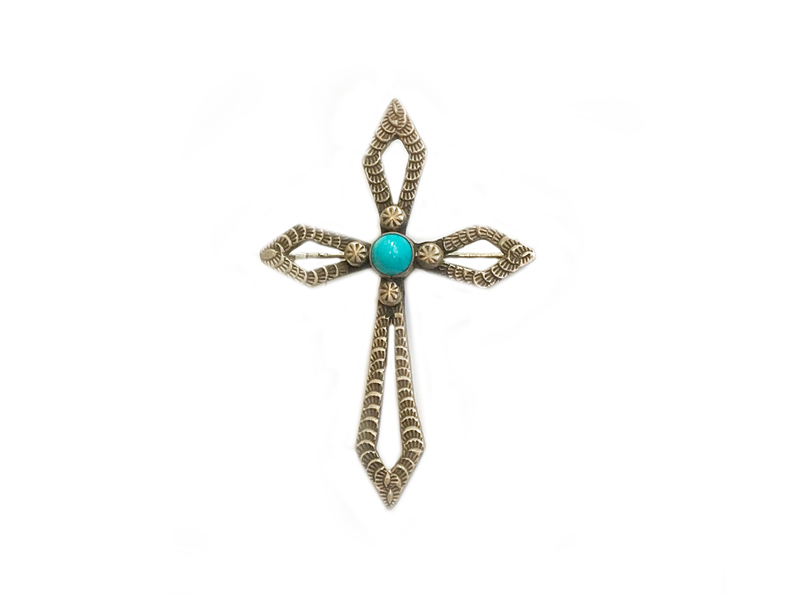 Sleeping Beauty Turquoise Cross Pendant Pin