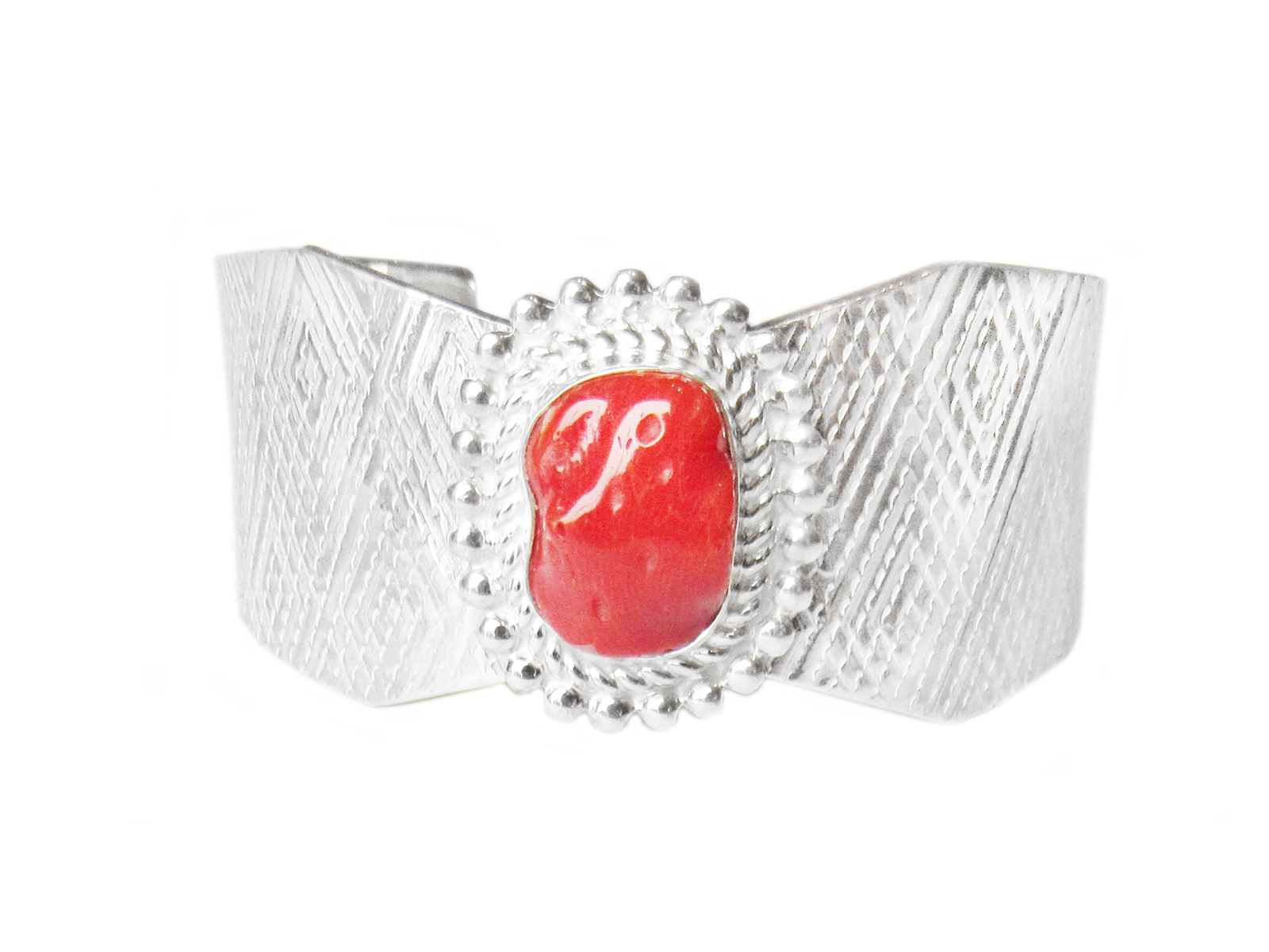 Silver Cuff with Coral
