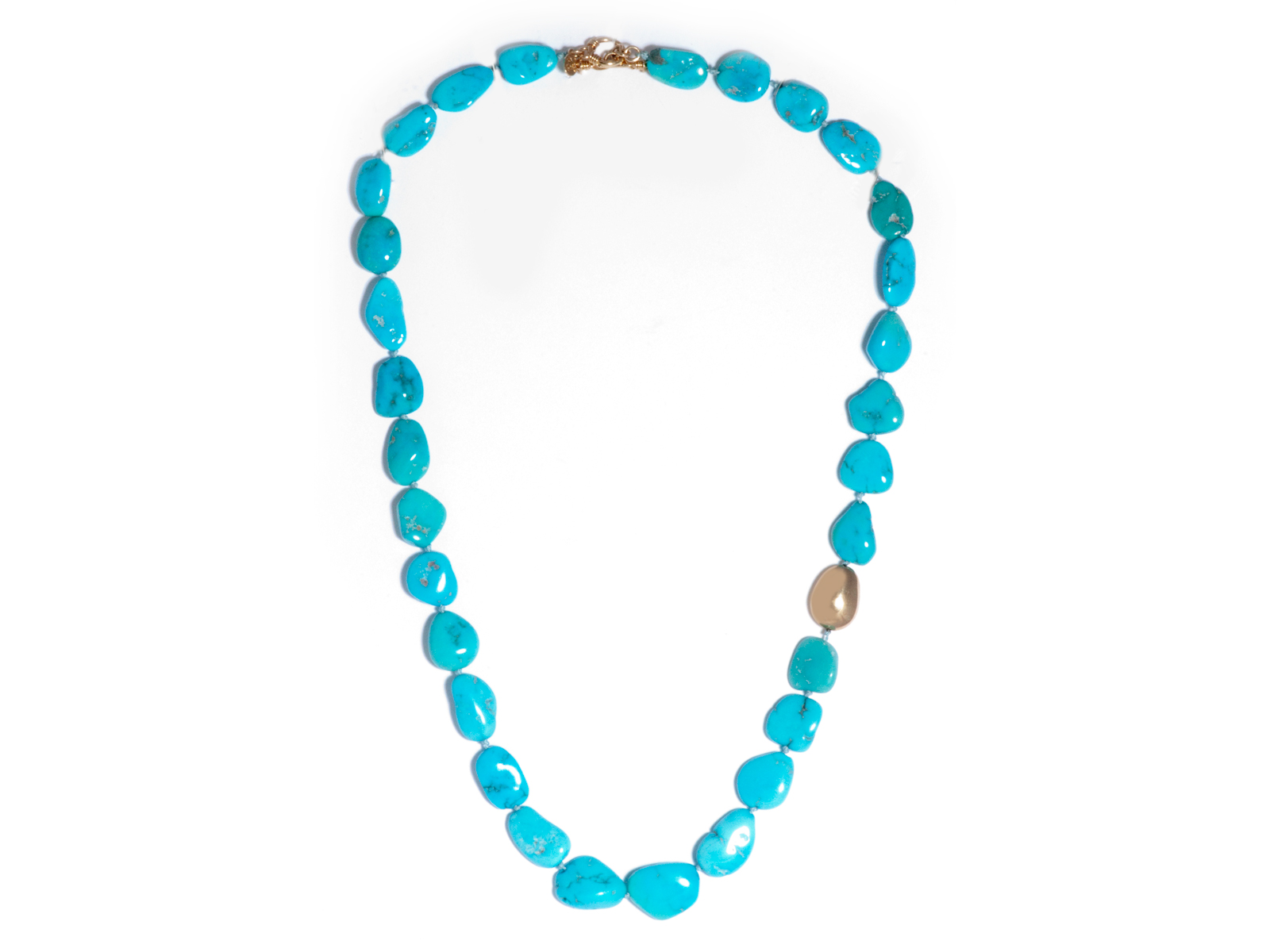 Gold Natural Sleeping Beauty Turquoise Nugget Necklace