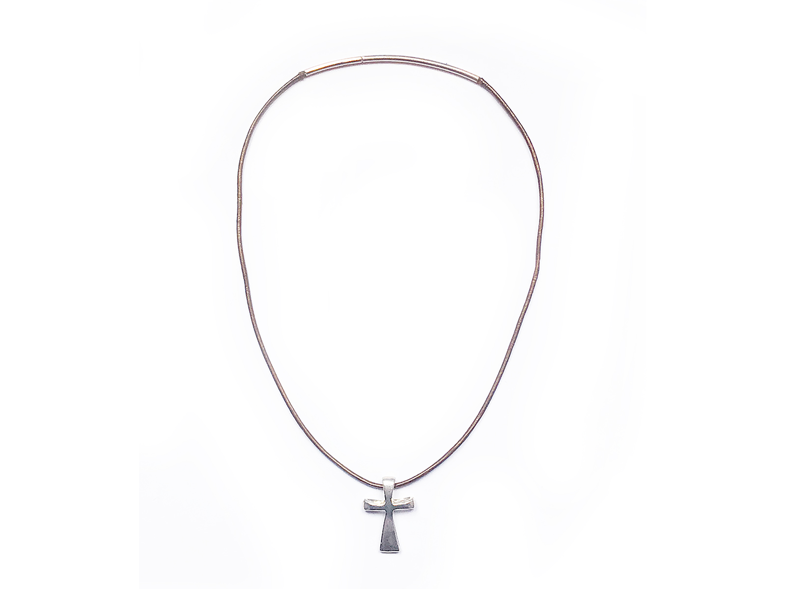 Sterling Silver Cross On Leather Necklace