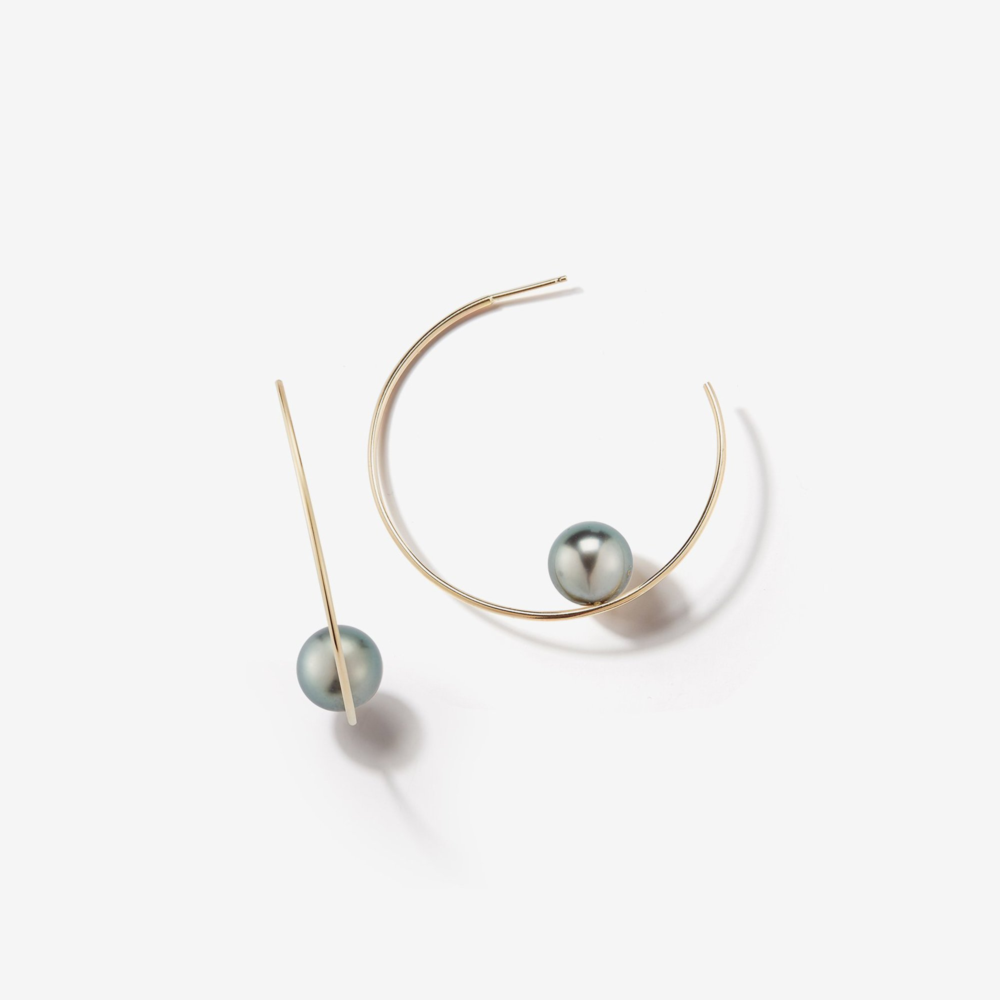 Small Floating Black Pearl Hoop Earrings