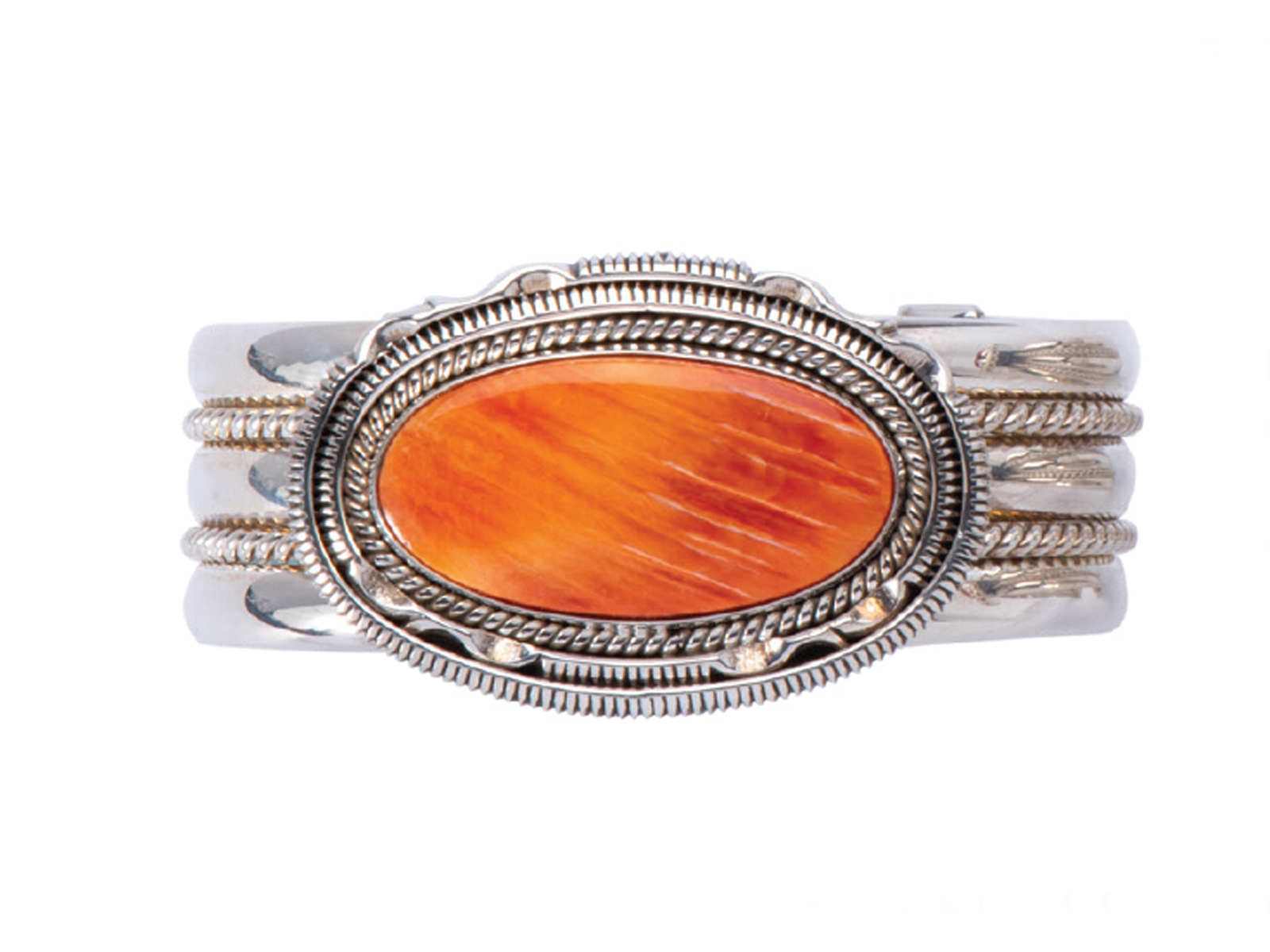 Silver Oval Orange Spiny Oyster Cuff