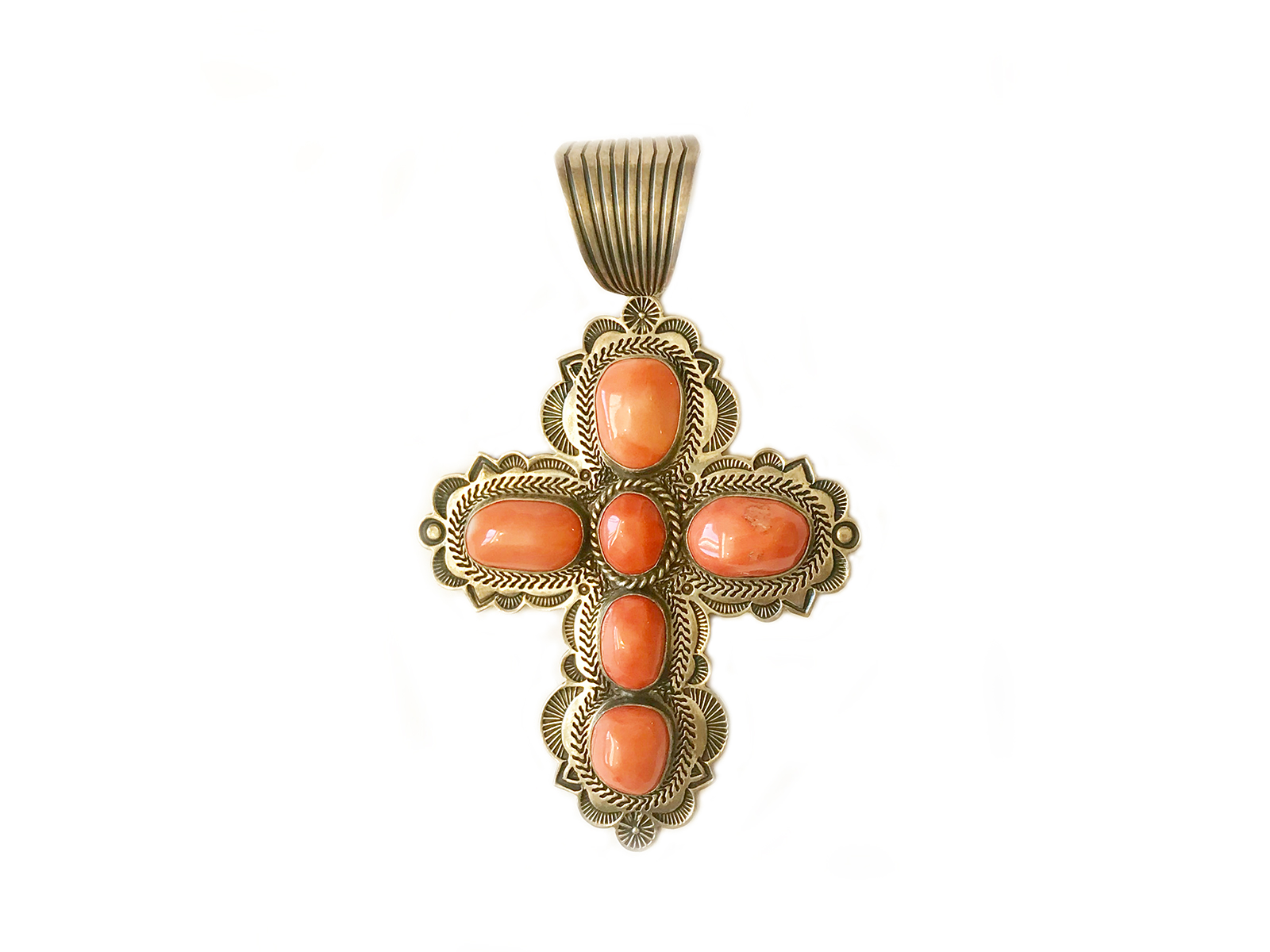 Pink Coral Cross Pendant