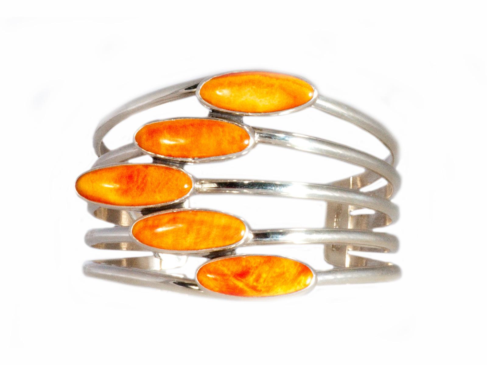 5 Stone Orange Spiny Oyster Cuff