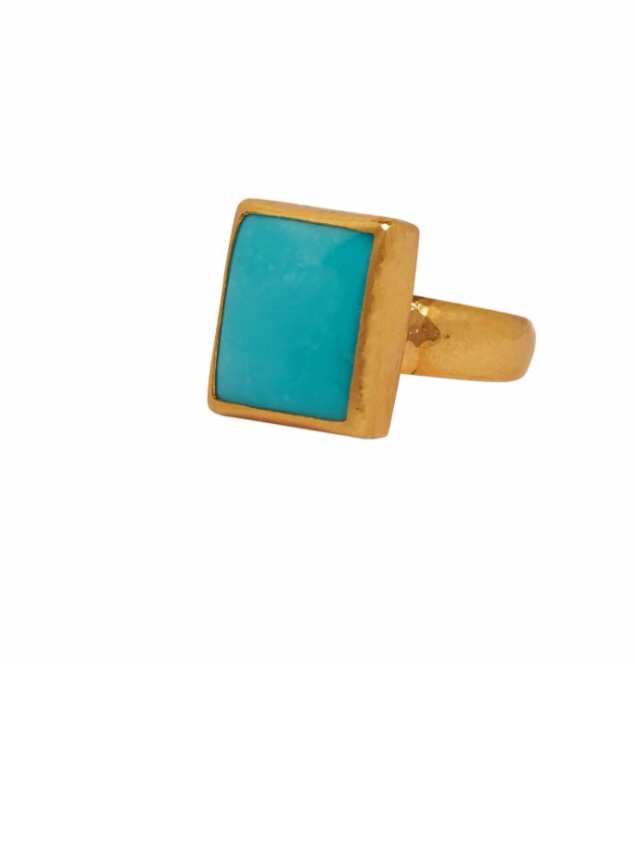 Square Turquoise Gold Ring