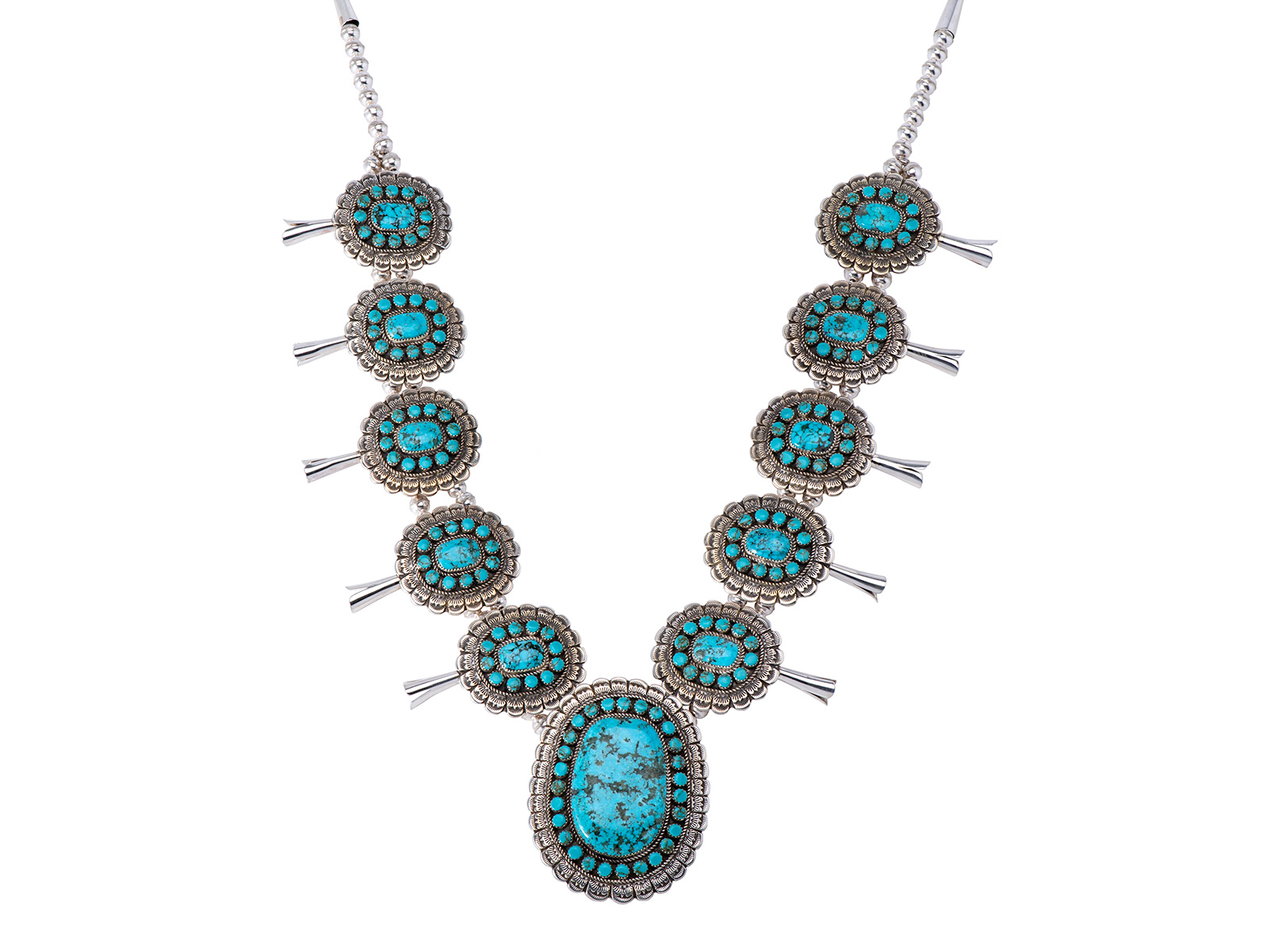 Silver Kingman Turquoise Squash Blossom Necklace